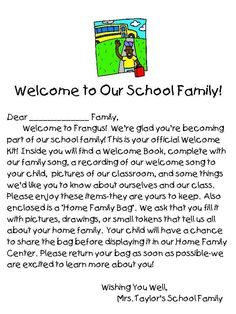 Welcome to Our School Family Letter