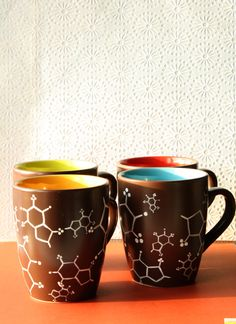 Cafeine molecule mugs   set of four by MerryMimic on Etsy