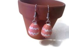 Easter Egg Earrings, Polymer Clay Charms, Coral Jewelry, Chevron Design, Easter| Ebay| $3.50