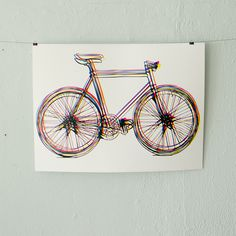 CMYK Bike poster - 4 color screen printed fixie rainbow bicycle art