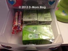 Diabetes Supplies Organizer: How we organize the supplies we use at night to test and treat blood sugars.