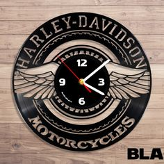 Harley davidson motorcycle logo vinyl record wall clock A. Vinyl Record Crafts, Vinyl Record Clock, Old Vinyl Records, Record Wall, Vinyl Art, Vynil, Handmade Wall Clocks, Laser Cutter Projects, Motorcycle Logo