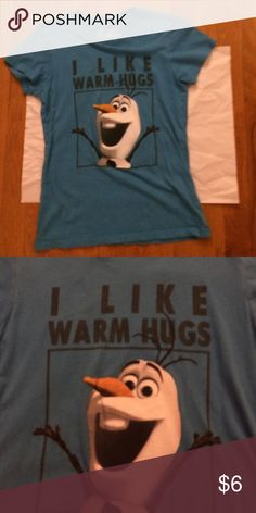 """I like warm hugs"" Olaf shirt This very cute Olaf shirt is good for any kid especially the ones that are in love w/ frozen! Disney Shirts & Tops Tees - Short Sleeve"