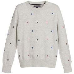 Tommy Hilfiger Boys Grey Cotton Knitted Sweater