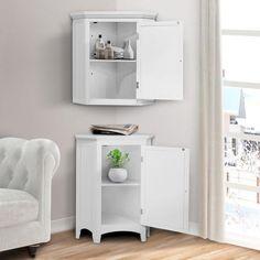 Corner Storage, Corner Bathroom Storage, Best Vinyl Flooring, Brown Cabinets, Cupboards, Bathroom Accents, Shutter Doors, Corner Wall, Linen Storage