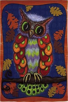 """Garden Sized Silk Reflections Flag: Colorful Owl by House-Impressions. Save 62 Off!. $5.99. Original design by © Kate Pitner. JMS Licensing.. Silk Reflections Flag. Great for yourself or as a gift. A flag is the greeting card of your home. 12.5"""" x 18"""". With colorful feathers and a wise countenance, this owl tilts his head to the side knowingly. Fall leaves swirl in the wind around him as he sits comfortably upon his thick tree branch. Handsome and unexpected, this is a flag that ca..."""