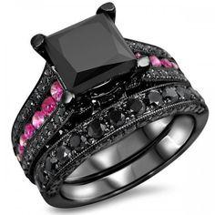 Gorgeous Princess Cut Black Diamond Bridal Wedding Ring Set In Black Gold Plated Silver