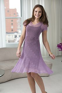 Red Heart Crochet Dress-With-Flare.  Free PDF pattern & supplies list!