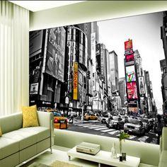 Beibehang Personalizada murales a gran escala retro blanco y negro Nueva York Times Square TV telón de fondo pintado no tejido