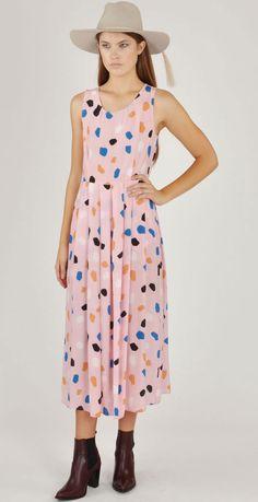 Dusen Dusen Pink Rocks Long Pleat Dress