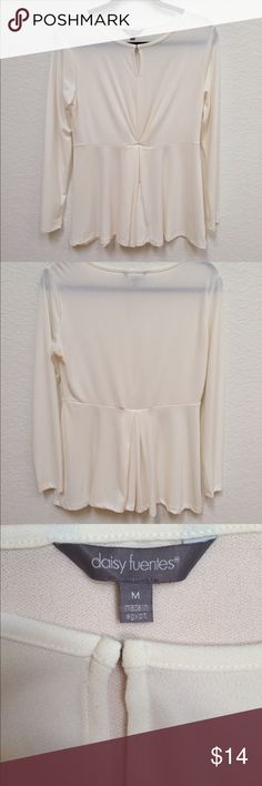 NWOT Cream/Off White Long Sleeve Blouse never worn, small key hole, flowy bottom, stretchy comfortable material, no trades, bundle friendly! Daisy Fuentes Tops Blouses