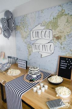 Chugga Two Two! Modern Train Themed Birthday Party Have a little one that loves trains? Today I'm sharing my son's second birthday party- it's a modern black and white train themed birthday party. I LOVE how the decor turned out and he love 2 Year Old Birthday Party, Twin Birthday Parties, 2nd Birthday Party Themes, Second Birthday Ideas, Trains Birthday Party, Birthday Decorations, Kids Party Themes, Children Birthday Party Ideas, Toddler Boy Birthday