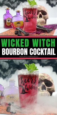 Mixing bourbon with blood orange liqueur, this Wicked Witch Cocktail is a delicious adult beverage to serve at your Halloween bash! It's easy to make and evilly good to drink - cheers witches! Bourbon Cocktails, Cocktail Drinks, Beer Mixed Drinks, Purple Pumpkin, Smoothie Makers, Drink Containers, Halloween Cocktails, Lime Soda, Wicked Witch