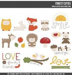 Forest Cuties Digital Clipart Clip Art Illustrations  by MissTiina, $5.00