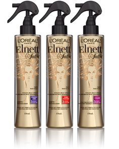 "#Elnett Heat Spray: Smoothing, Curl or Volume...take your pick.  I use volume - love!  See the '3' on the bottles?  They say ""3 day volume"" or ""3 day straight"" etc., and they mean it!  If you can save a couple days of styling and heat damage, why not.  Heat protectant is a must.  xoxo"
