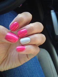 CND Shellac Pink Bikini with Cityscape accent nail
