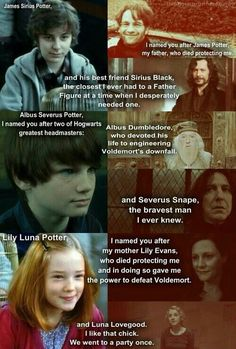 James Sirius Potter - Albus Severus Potter - Lily Luna Potter -Luna helped him not to care about the people who hated him anymore. And she was the best friend of Lily Lunas mother. Finally Ginny got to pick a name Lego Harry Potter, Baby Harry Potter, Harry Potter World, Classe Harry Potter, Harry Potter Jokes, Harry Potter Cast, Harry Potter Universal, Harry Potter Fandom, Harry Potter Kids Names