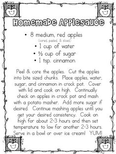 The First Grade Parade: Applesauce recipe