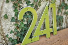 Fern Green Distressed Aluminum House Numbers (15.00 USD) by DropMetal
