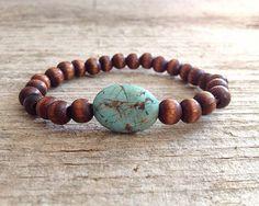 Men's Oval Turquoise Stone & Brown Wood Bead Bracelet - Stretch Bracelet - Bohem...