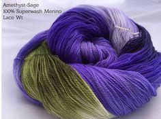 Amethyst-Sage Hand Dyed Yarn