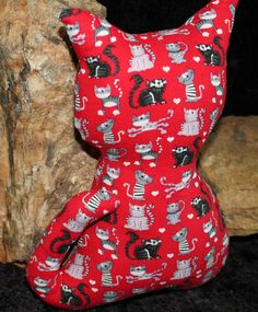 Red Stuffed Cat with Black and Gray Cats by NaturallyOregon on Etsy