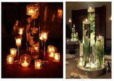 Orchid and Candle Centerpiece