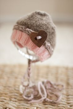 Pink Newborn Hat, Brown and Pink Baby Girl Hat, Knitted Bonnet Hat with OPTIONAL Heart Button - Great Photo Prop