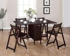 Linon K911ESP Espresso 5 Piece Space Saver Folding Dining Set