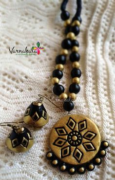 GOLD & BLACK Handmade Terracotta necklace/earring. by Varnakala