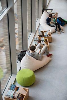 School Design, Public Libraries, Public Library Design, Library Cafe, Library Architecture, School Architecture, Soft Seating, Office Interior Design, Office Interiors