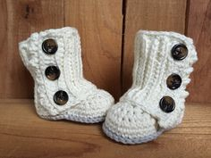 Crocheted baby boots  These wrap boots are simply adorable! Made by crochetncoffeebeans on etsy