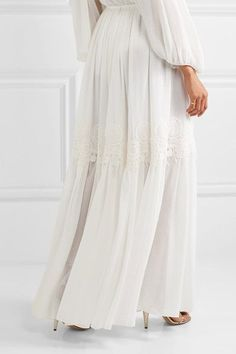 Chloé - Guipure Lace-trimmed Stretch-silk Mousseline Maxi Skirt - Cream - FR34