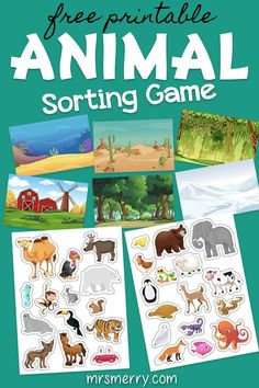 Match up the 30 different animals to the 6 different habits. Animal Activities For Kids, Toddler Learning Activities, Sorting Activities, Kindergarten Activities, Animals For Kids, Kids Learning, Autism Activities, Montessori, Sorting Games