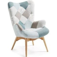 Butaca Kody patchwork azul - Kave Home Poltrona Vintage, Poltrona Design, Atlantic Home Collection, Wood Arm Chair, Kare Design, Bedroom Chair, My Furniture, Living Room Chairs, Sofa Design