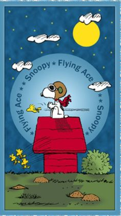 Snoopy the Flying Ace Panel from Quilting Treasures. This panel features Snoopy sitting on top of his red doghouse pretending to be flying through the sky. This 24 x 44 inch panel is right side up when the selvages are on the top and bottom. Happy Birthday Animals, Animal Birthday, Funny Birthday, Snoopy Birthday, Peanuts Cartoon, Peanuts Snoopy, Peanuts Movie, Charlie Brown Y Snoopy, Snoopy Pictures