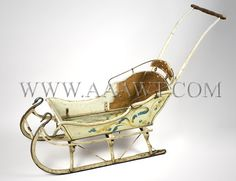 Antique Sled, Original Paint, Late 19th Century, angle view AAAWT Luge, Vintage Sled, Vintage Toys, Baby Sled, Christmas Sled, Lps Toys, Dashing Through The Snow, Baby Carriage, Baby Winter