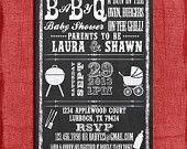 Printable Baby Q BBQ Baby Shower Chalkboard Style 4x6 or 5x7 Invitation-DIY