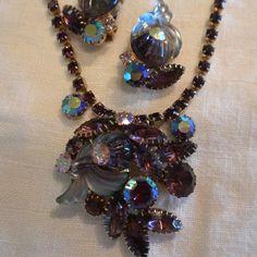 Vintage Necklace Earrings Edlee Purple Cornucopia Art by lauraab51, $225.00