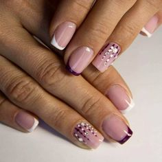 French Tip On Square Nails | Pretty Long & Short Square Nails Inspiration