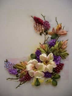 Wonderful Ribbon Embroidery Flowers by Hand Ideas. Enchanting Ribbon Embroidery Flowers by Hand Ideas. Ribbon Embroidery Tutorial, Flower Embroidery Designs, Silk Ribbon Embroidery, Embroidery Patterns, Embroidery Thread, Embroidery Supplies, Embroidered Silk, Machine Embroidery, Learn Embroidery