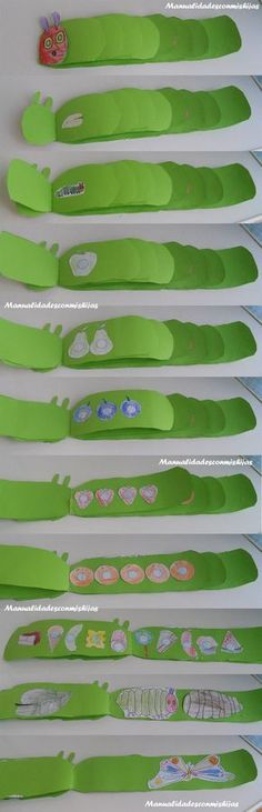 Literature: making your own very hungry caterpillar. Each panel of the caterpillar add on one more ever time. This could tie into a math lesson as well. I would do this with kindergarten. Classroom Activities, Toddler Activities, Preschool Activities, Chenille Affamée, Book Crafts, Preschool Crafts, Kids Crafts, Crafts For 2 Year Olds, Activities For 2 Year Olds