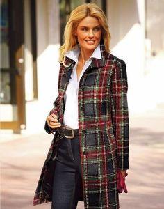 Стильное пальто в клетку. Образы для настоящих модниц Зимова Мода 567b8143084f9