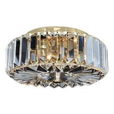 "$334 9"" w Julien 18K Gold Two Light Flush Mount With Firenze Clear Crystal Allegri By Kalco Flush Mo"