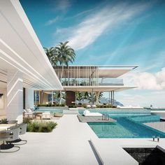Luxury, dream and most expensive villa. The most beautiful houses with swimming pool - Home & DIY Modern Architecture House, Modern House Design, Contemporary Design, Pool House Decor, Dream Mansion, Luxury Homes Dream Houses, Villa Design, Design Art, Dream House Exterior