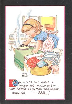 Mabel Lucie Attwell Unused Iron ironing theme Postcard Cute fantasy Vintage artist signed in very good condition No.5836 on Etsy, $10.64
