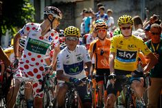 Tour de France 2013 stage-9 - the jersey's line up for the start #Brands #RidetheIsland