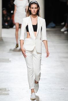 Barbara Bui | Spring 2015 Ready-to-Wear | 19 White cut out 3/4 sleeve blazer, black halter cropped top and white trousers