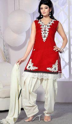 $102.87 Red Sleeveless Chanderi Silk Short Length Punjabi Salwar Kameez 21375