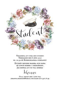 Inbjudningskort till student, studentkort, kort student, inbjudan, studentfest